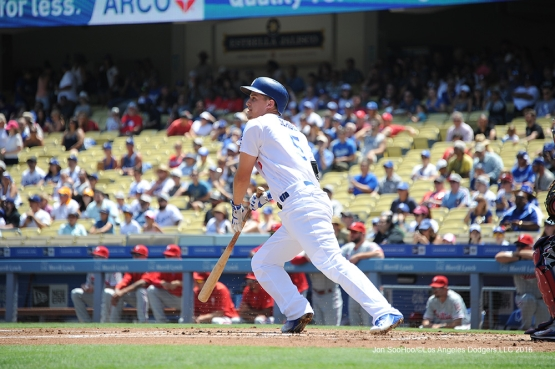 Corey Seager singles during game against the Philadelphia Phillies Wednesday, August 10, 2016 at Dodger Stadium in Los Angeles,California. Photo by Jon SooHoo/©Los Angeles Dodgers,LLC 2016