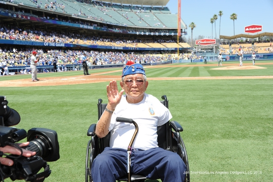"Los Angeles Dodgers Military Hero of the Game US Army Corporal, Noboru ""Don"" Seki waves to the crowd Wednesday, August 10, 2016 at Dodger Stadium in Los Angeles,California. Photo by Jon SooHoo/©Los Angeles Dodgers,LLC 2016"