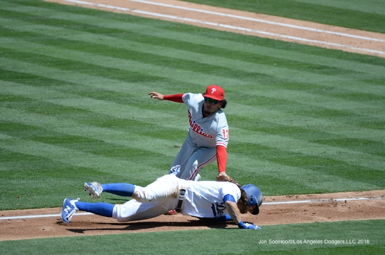 Josh Reddick is out during game against the Philadelphia Phillies Wednesday, August 10, 2016 at Dodger Stadium in Los Angeles,California. Photo by Jon SooHoo/©Los Angeles Dodgers,LLC 2016