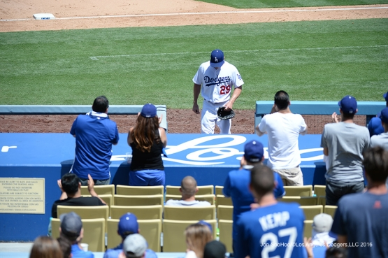 Scott Kazmir comes out of game against the Philadelphia Phillies Wednesday, August 10, 2016 at Dodger Stadium in Los Angeles,California. Photo by Jon SooHoo/©Los Angeles Dodgers,LLC 2016