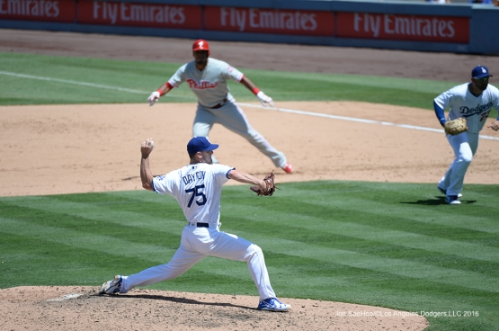 Grant Dayton pitches during game against the Philadelphia Phillies Wednesday, August 10, 2016 at Dodger Stadium in Los Angeles,California. Photo by Jon SooHoo/©Los Angeles Dodgers,LLC 2016
