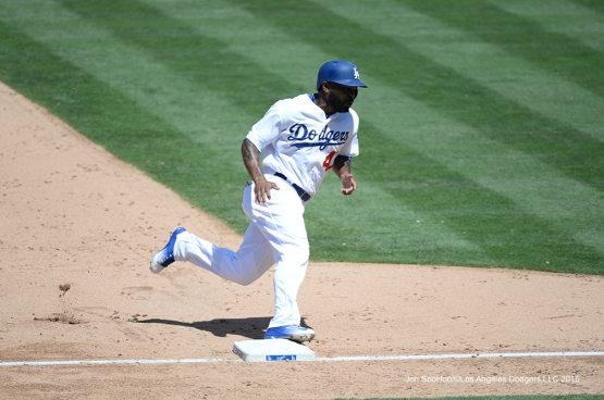 Howie Kendrick scores during game against the Philadelphia Phillies Wednesday, August 10, 2016 at Dodger Stadium in Los Angeles,California. Photo by Jon SooHoo/©Los Angeles Dodgers,LLC 2016