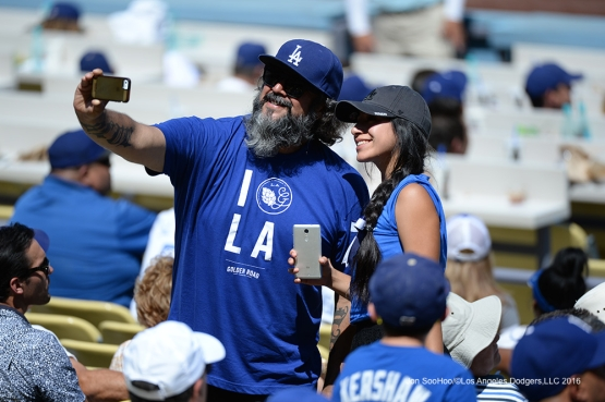 Great Los Angeles Dodger fans pose during game against the Philadelphia Phillies Wednesday, August 10, 2016 at Dodger Stadium in Los Angeles,California. Photo by Jon SooHoo/©Los Angeles Dodgers,LLC 2016