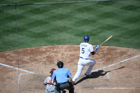 Corey Seager with a hit during game against the Philadelphia Phillies Wednesday, August 10, 2016 at Dodger Stadium in Los Angeles,California. Photo by Jon SooHoo/©Los Angeles Dodgers,LLC 2016