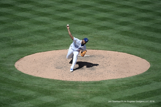 Kenley Jensen pitches against the Philadelphia Phillies Wednesday, August 10, 2016 at Dodger Stadium in Los Angeles,California. Photo by Jon SooHoo/©Los Angeles Dodgers,LLC 2016