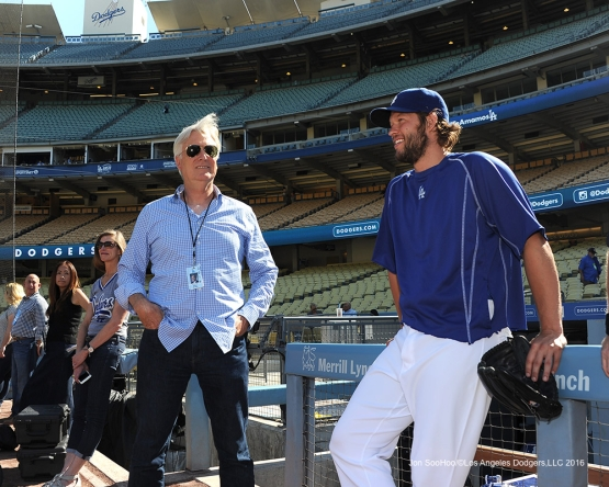 Mark Walter and Clayton Kershaw talk prior to game against the Pittsburgh Pirates Friday, August 12, 2016 at Dodger Stadium in Los Angeles,California. Photo by Jon SooHoo/©Los Angeles Dodgers,LLC