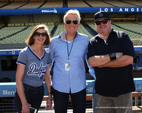 Mark and Kim Walter with Eric Stonestreet prior to game against the Pittsburgh Pirates Friday, August 12, 2016 at Dodger Stadium in Los Angeles,California. Photo by Jon SooHoo/©Los Angeles Dodgers,LLC