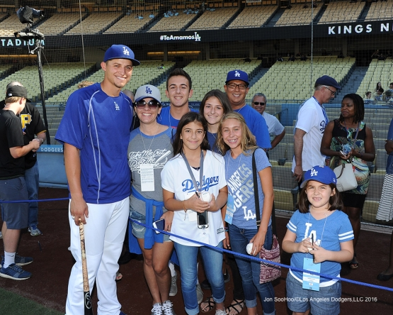 Great Los Angeles Dodger fans pose prior to game against the Pittsburgh Pirates Friday, August 12, 2016 at Dodger Stadium in Los Angeles,California. Photo by Jon SooHoo/©Los Angeles Dodgers,LLC