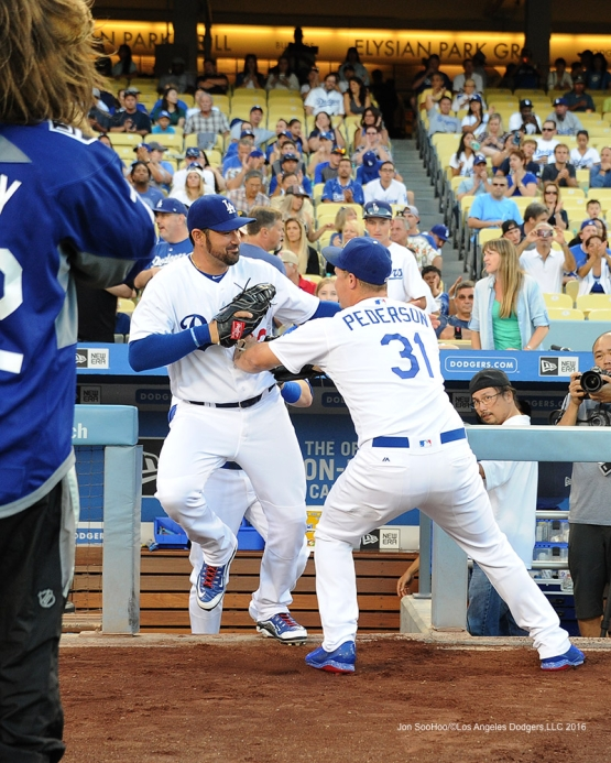 Adrian Gonzalez and Joc Pederson during game against the Pittsburgh Pirates Friday, August 12, 2016 at Dodger Stadium in Los Angeles,California. Photo by Jon SooHoo/©Los Angeles Dodgers,LLC