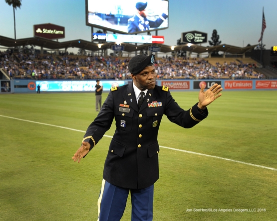 Los Angeles Dodgers Military Hero of the Game, U.S.Army, Major James D. Key is honored during game against the Pittsburgh Pirates Friday, August 12, 2016 at Dodger Stadium in Los Angeles,California. Photo by Jon SooHoo/©Los Angeles Dodgers,LLC