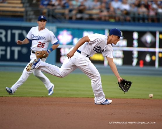 Corey Seager fields ball during game against the Pittsburgh Pirates Friday, August 12, 2016 at Dodger Stadium in Los Angeles,California. Photo by Jon SooHoo/©Los Angeles Dodgers,LLC
