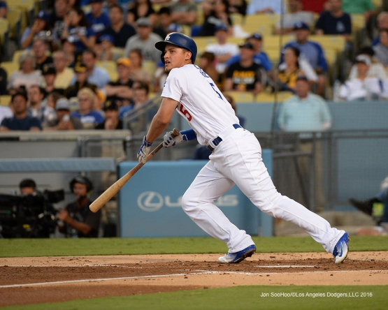Corey Seager singles to left during game against the Pittsburgh Pirates Friday, August 12, 2016 at Dodger Stadium in Los Angeles,California. Photo by Jon SooHoo/©Los Angeles Dodgers,LLC