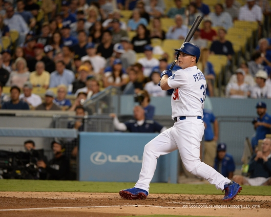 Joc Pederson doubles  against the Pittsburgh Pirates Friday, August 12, 2016 at Dodger Stadium in Los Angeles,California. Photo by Jon SooHoo/©Los Angeles Dodgers,LLC