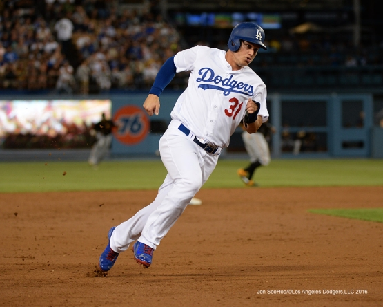 Joc Pederson heads home against the Pittsburgh Pirates Friday, August 12, 2016 at Dodger Stadium in Los Angeles,California. Photo by Jon SooHoo/©Los Angeles Dodgers,LLC