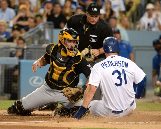 Joc Pederson scores during game against the Pittsburgh Pirates Friday, August 12, 2016 at Dodger Stadium in Los Angeles,California. Photo by Jon SooHoo/©Los Angeles Dodgers,LLC