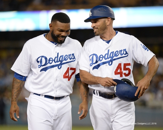Howie Kendrick and Chris Woodward during game against the Pittsburgh Pirates Friday, August 12, 2016 at Dodger Stadium in Los Angeles,California. Photo by Jon SooHoo/©Los Angeles Dodgers,LLC
