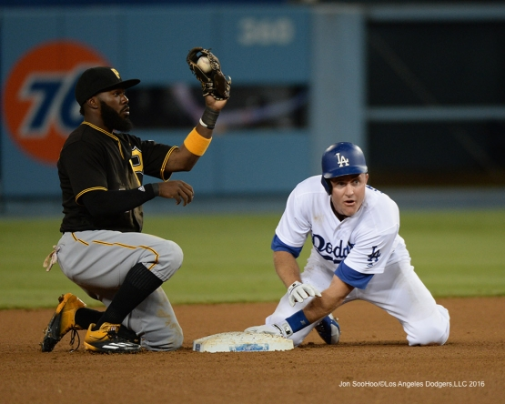Chase Utley is out at second during game against the Pittsburgh Pirates Friday, August 12, 2016 at Dodger Stadium in Los Angeles,California. Photo by Jon SooHoo/©Los Angeles Dodgers,LLC