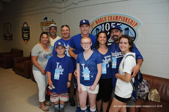 Chase Utley visits with his guests prior to game against the Pittsburgh Pirates Saturday, August 13, 2016 at Dodger Stadium in Los Angeles,California. Photo by Jon SooHoo/©Los Angeles Dodgers,LLC