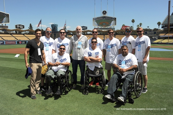 Los Angeles Dodgers honor young veterans of Soldier Care prior to game against the Pittsburgh Pirates Saturday, August 13, 2016 at Dodger Stadium in Los Angeles,California. Photo by Jon SooHoo/©Los Angeles Dodgers,LLC