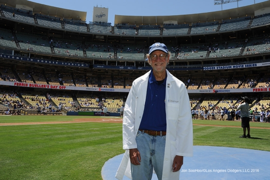Think Cure's Dr Stephen Forman poses prior to game against the Pittsburgh Pirates Saturday, August 13, 2016 at Dodger Stadium in Los Angeles,California. Photo by Jon SooHoo/©Los Angeles Dodgers,LLC