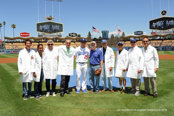 Think Cure Weekend-Doctors at City of Hope pose with Scott Kazmir before game against the Pittsburgh Pirates Saturday, August 13, 2016 at Dodger Stadium in Los Angeles,California. Photo by Jon SooHoo/©Los Angeles Dodgers,LLC