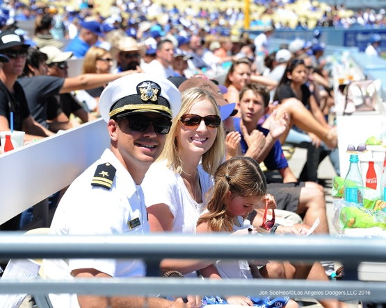 U.S.Navy Lieutenant, Ridge Alkonis watches the game against the Pittsburgh Pirates Saturday, August 13, 2016 at Dodger Stadium in Los Angeles,California. Photo by Jon SooHoo/©Los Angeles Dodgers,LLC