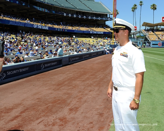 U.S.Navy Lieutenant, Ridge Alkonis introduced during game against the Pittsburgh Pirates Saturday, August 13, 2016 at Dodger Stadium in Los Angeles,California. Photo by Jon SooHoo/©Los Angeles Dodgers,LLC