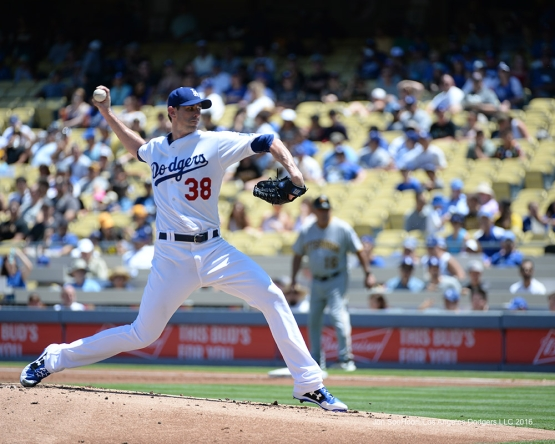 Brandon McCarthy pitches against the Pittsburgh Pirates Saturday, August 13, 2016 at Dodger Stadium in Los Angeles,California. Photo by Jon SooHoo/©Los Angeles Dodgers,LLC