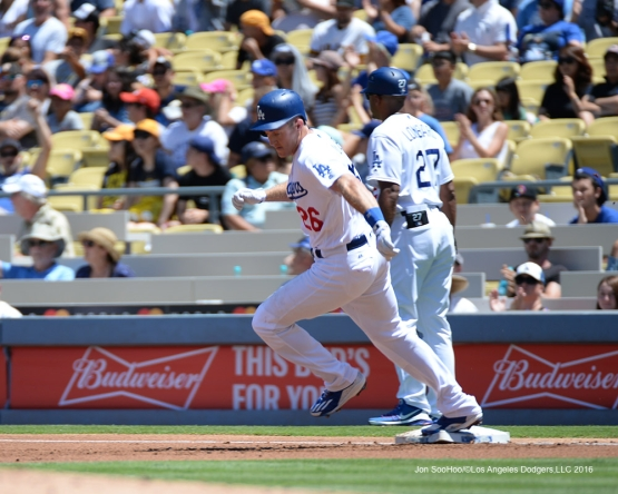 Chase Utley heads to second against the Pittsburgh Pirates Saturday, August 13, 2016 at Dodger Stadium in Los Angeles,California. Photo by Jon SooHoo/©Los Angeles Dodgers,LLC