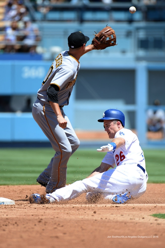 Chase Utley is safe at second during game against the Pittsburgh Pirates Saturday, August 13, 2016 at Dodger Stadium in Los Angeles,California. Photo by Jon SooHoo/©Los Angeles Dodgers,LLC