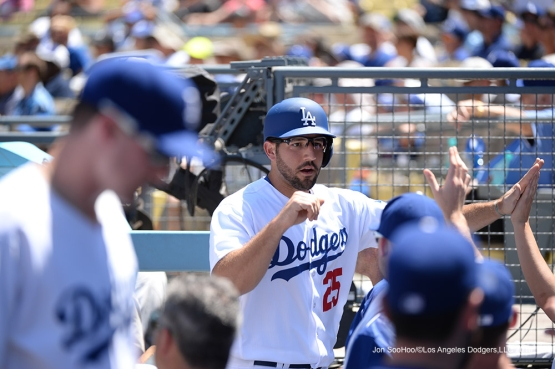 Rob Segedin scores during game against the Pittsburgh Pirates Saturday, August 13, 2016 at Dodger Stadium in Los Angeles,California. Photo by Jon SooHoo/©Los Angeles Dodgers,LLC