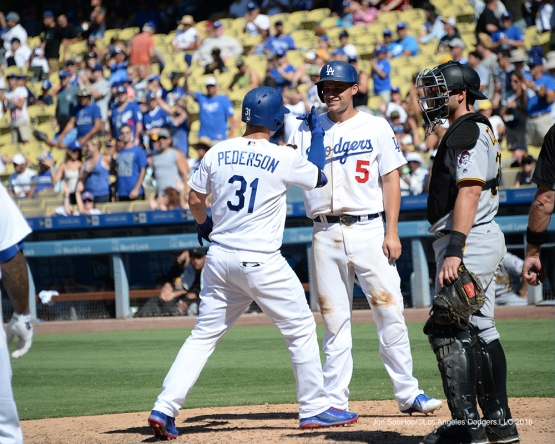 Joc Pederson homers against the Pittsburgh Pirates Saturday, August 13, 2016 at Dodger Stadium in Los Angeles,California. Photo by Jon SooHoo/©Los Angeles Dodgers,LLC
