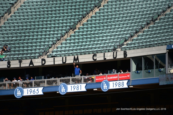 Great Los Angeles Dodgers fan waves during game against the Pittsburgh Pirates Saturday, August 13, 2016 at Dodger Stadium in Los Angeles,California. Photo by Jon SooHoo/©Los Angeles Dodgers,LLC