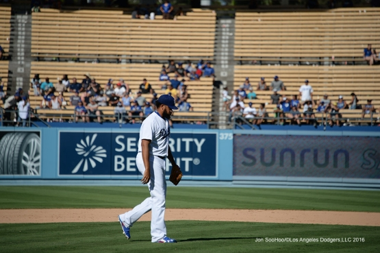 Kenley Jansen comes into close the game against the Pittsburgh Pirates Saturday, August 13, 2016 at Dodger Stadium in Los Angeles,California. Photo by Jon SooHoo/©Los Angeles Dodgers,LLC