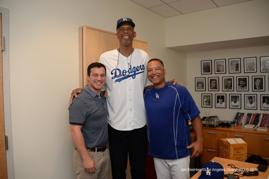 Kareem Abdul-Jabbar visits the clubhouse prior to game against the Pittsburgh Pirates Sunday, August 14, 2016 at Dodger Stadium in Los Angeles,California. Photo by Jon SooHoo/©Los Angeles Dodgers,LLC 2016