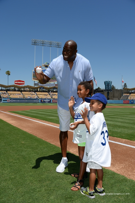 "Earvin ""Magic"" Johnson enjoys his birthday prior to Los Angeles Dodgers  game against the Pittsburgh Pirates Sunday, August 14, 2016 at Dodger Stadium in Los Angeles,California. Photo by Jon SooHoo/©Los Angeles Dodgers,LLC 2016"