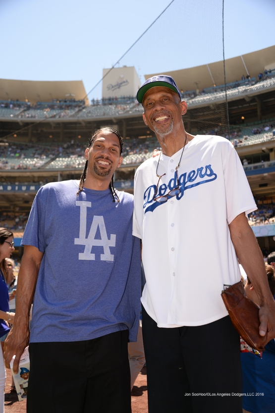 Kareem Abdul-Jabbar and son pose prior to Los Angeles Dodgers  game against the Pittsburgh Pirates Sunday, August 14, 2016 at Dodger Stadium in Los Angeles,California. Photo by Jon SooHoo/©Los Angeles Dodgers,LLC 2016