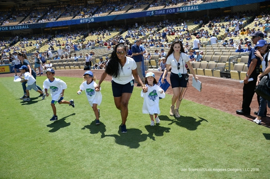 Kid Taking the Field before game against the Pittsburgh Pirates Sunday, August 14, 2016 at Dodger Stadium in Los Angeles,California. Photo by Jon SooHoo/©Los Angeles Dodgers,LLC 2016