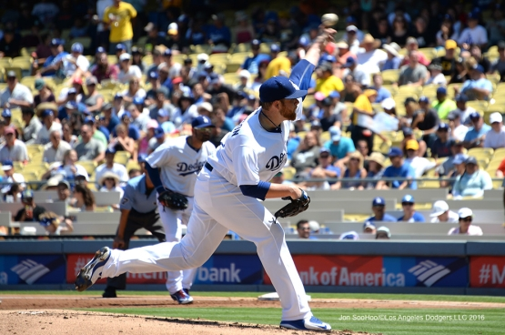 Brett Anderson during game against the Pittsburgh Pirates Sunday, August 14, 2016 at Dodger Stadium in Los Angeles,California. Photo by Jon SooHoo/©Los Angeles Dodgers,LLC 2016