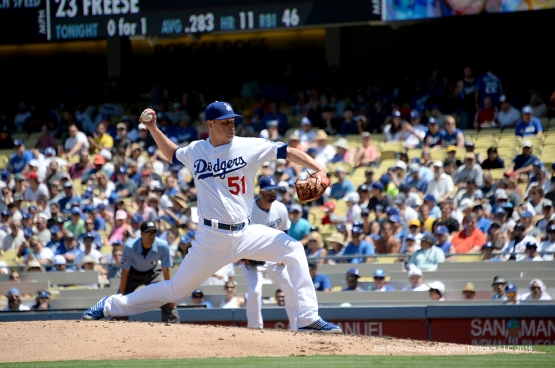 Brock Stewart during game against the Pittsburgh Pirates Sunday, August 14, 2016 at Dodger Stadium in Los Angeles,California. Photo by Jon SooHoo/©Los Angeles Dodgers,LLC 2016