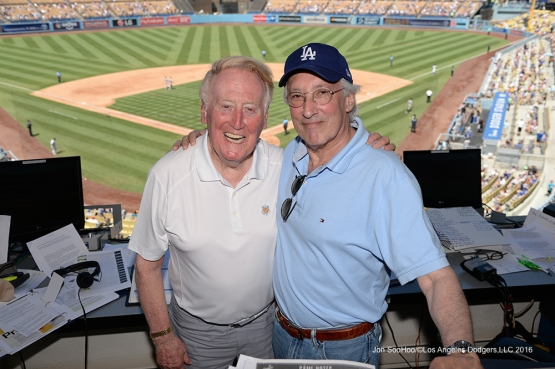 Vin Scully with Stephen Bochco during game against the Pittsburgh Pirates Sunday, August 14, 2016 at Dodger Stadium in Los Angeles,California. Photo by Jon SooHoo/©Los Angeles Dodgers,LLC 2016