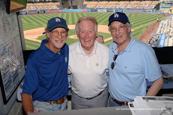 Vin Scully with Dr Stephen Forman and Stephen Bochco during game against the Pittsburgh Pirates Sunday, August 14, 2016 at Dodger Stadium in Los Angeles,California. Photo by Jon SooHoo/©Los Angeles Dodgers,LLC 2016