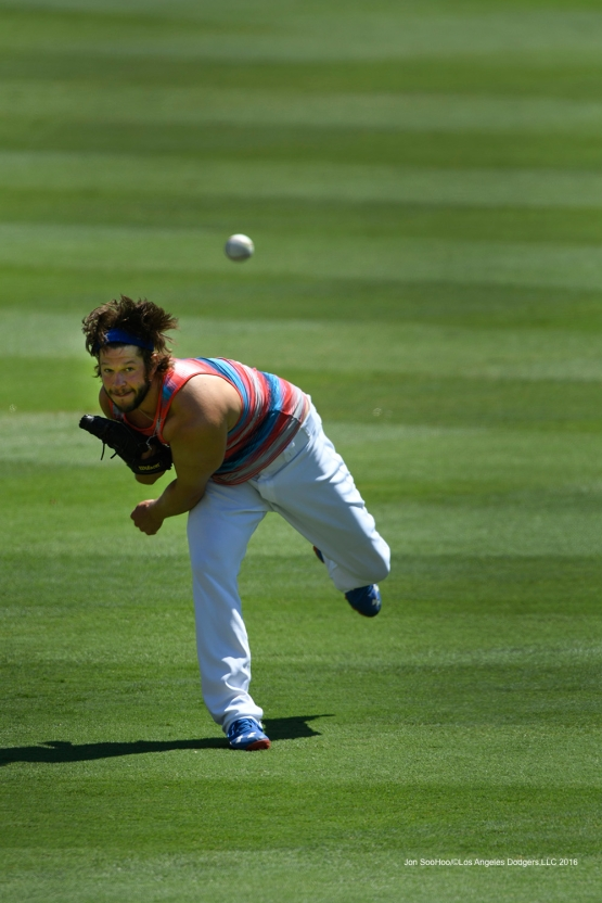Clayton Kershaw plays catch prior to game against the Pittsburgh Pirates Sunday, August 14, 2016 at Dodger Stadium in Los Angeles,California. Photo by Jon SooHoo/©Los Angeles Dodgers,LLC 2016