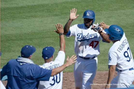 Howie Kendrick scores on a balk during game against the Pittsburgh Pirates Sunday, August 14, 2016 at Dodger Stadium in Los Angeles,California. Photo by Jon SooHoo/©Los Angeles Dodgers,LLC 2016
