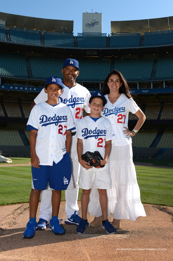The Lombard family poses after game against the Pittsburgh Pirates Sunday, August 14, 2016 at Dodger Stadium in Los Angeles,California. Photo by Jon SooHoo/©Los Angeles Dodgers,LLC 2016