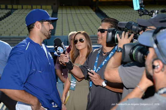 Rob Segedin does interviews prior to game against the San Francisco Giants Tuesday, August 23, 2016 at Dodger Stadium in Los Angeles,California. Photo by Jon SooHoo/©Los Angeles Dodgers,LLC 2016