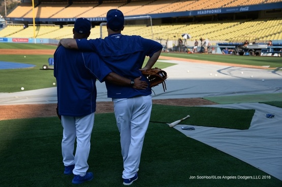 Dave Roberts and Joc Pederson prior to game against the San Francisco Giants Tuesday, August 23, 2016 at Dodger Stadium in Los Angeles,California. Photo by Jon SooHoo/©Los Angeles Dodgers,LLC 2016