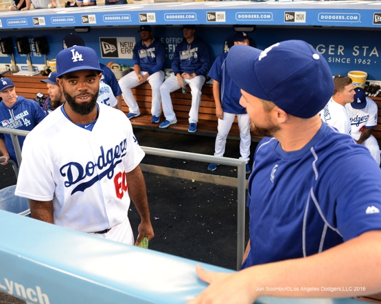 Andrew Toles and Bud Norris prior to game against the San Francisco Giants Tuesday, August 23, 2016 at Dodger Stadium in Los Angeles,California. Photo by Jon SooHoo/©Los Angeles Dodgers,LLC 2016