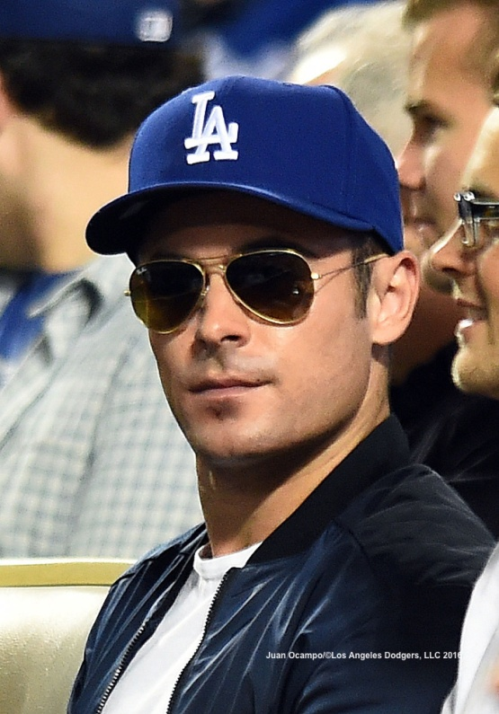 Actor Zac Efron watches the game at Dodger Stadium.