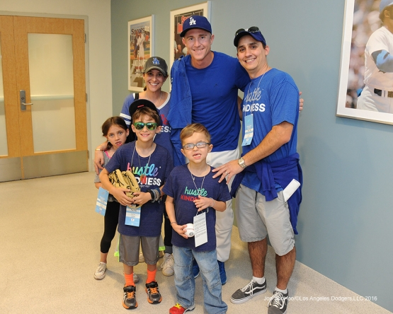 Great Los Angeles Dodger fans pose with Chase Utley prior to game against the San Francisco Giants Thursday, August 25, 2016 at Dodger Stadium in Los Angeles,California. Photo by Jon SooHoo/©Los Angeles Dodgers,LLC 2016